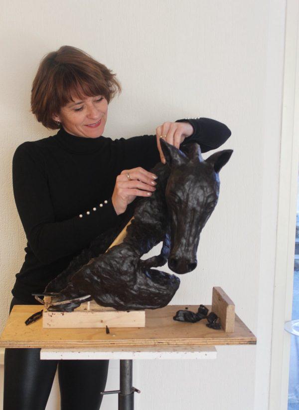 Uniek bronzen paardenbeeld
